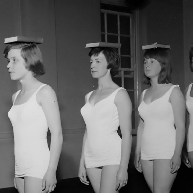 good posture practice from the 1950s for singing and other art forms.