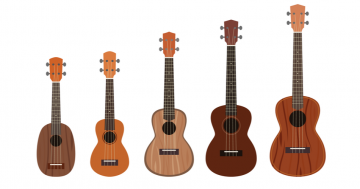 different guitar sizes in a row to show illustrative example of different guitar sizings