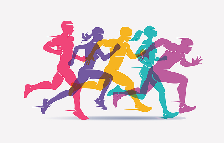 image showing illustrated people running at varying speeds.